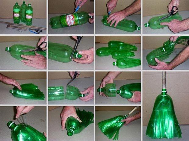 Escobas con botellas de plastico