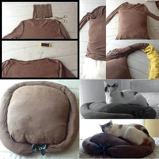 cama-gato con objetos reciclados