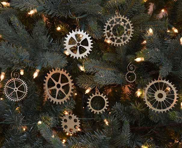 Engranajes como adornos para el árbol de navidad