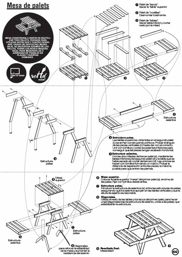 Planos para construir muebles reutilizando palets hazlo for Planos de mesas de madera pdf