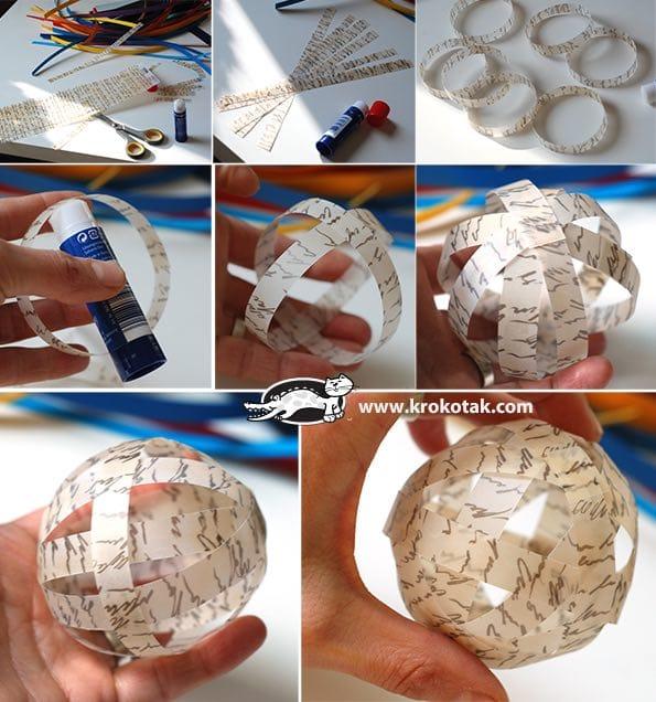 Bolas de navidad con papel reciclado