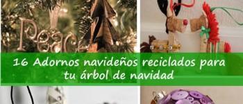 16 Adornos navideños reciclados para tu árbol de navidad