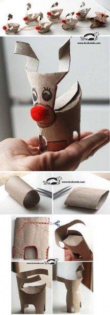 Renos con rollos de papel higiénico