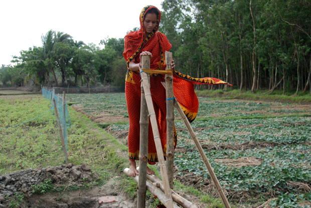 bomba de bambu a pedales
