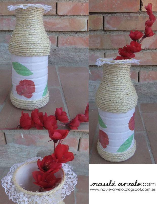 jarron con envases reciclados