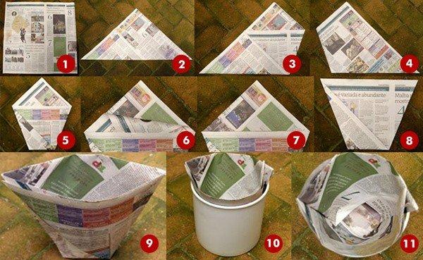 Como hacer una bolsa con papel de periódicos instrucciones