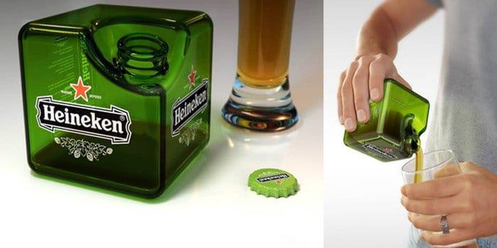 heineken cube sirviendo cerveza