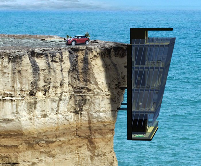 Preciosa casa integrada totalmente en un acantilado