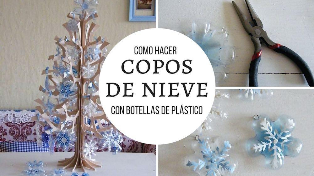 Como hacer copos de nieve con botellas de plastico