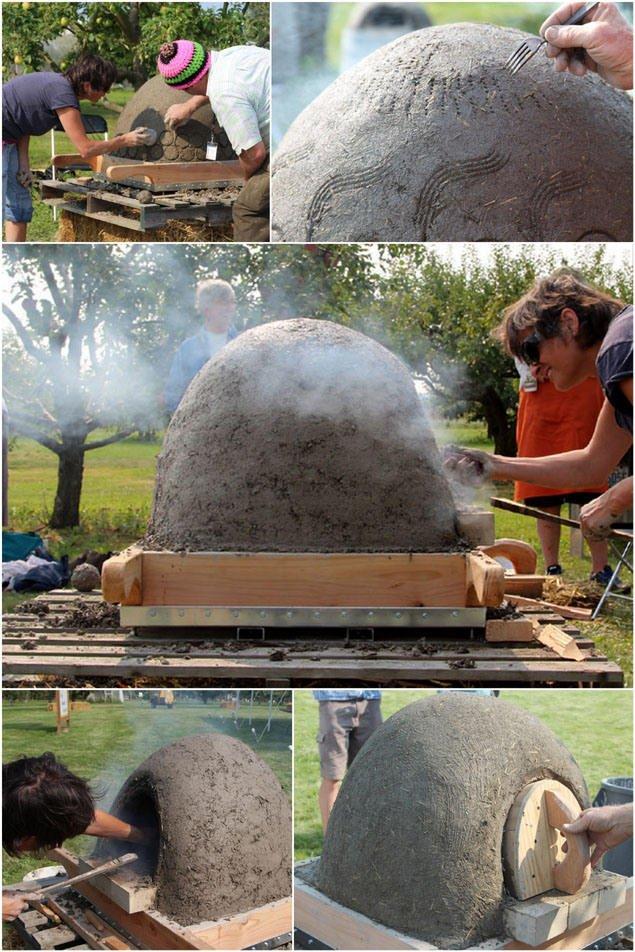 el acabado del horno de leña