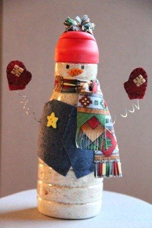 Muñecos De Nieve Reciclando O Reusando Desechos