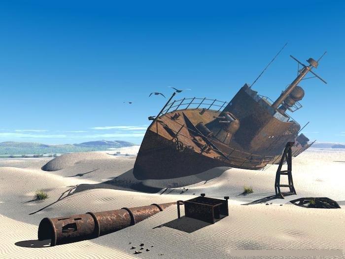 Barco en el Mar de Aral