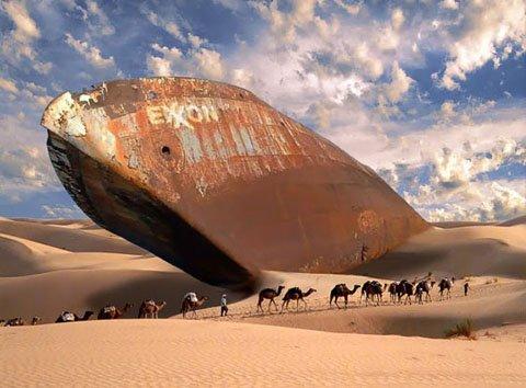 Barco petrolero en el Mar de Ara