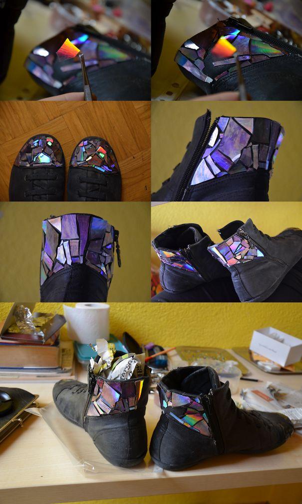 zapatos con CDs