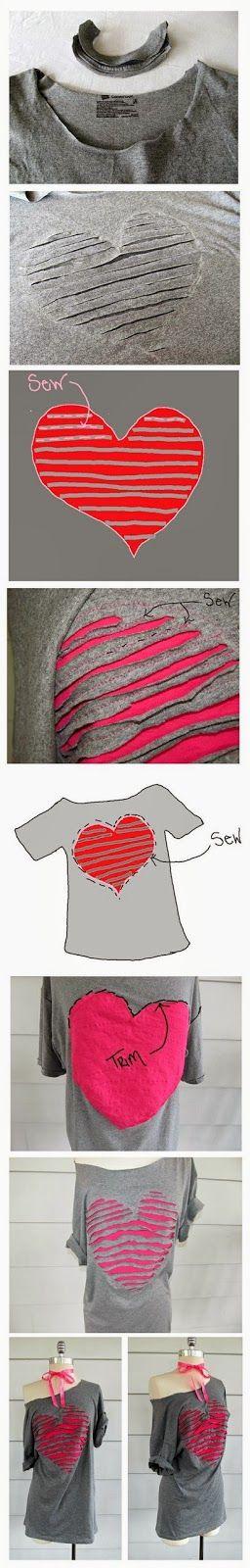 Corazón en una camiseta vieja