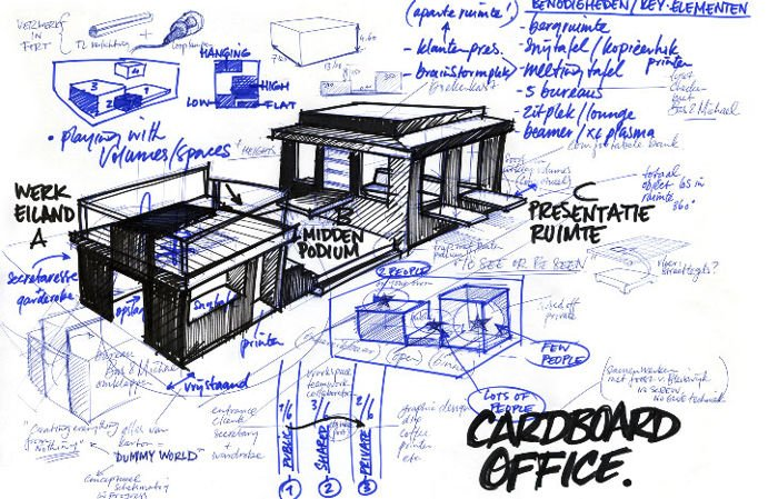 Oficina en Amsterdam hecha completamente de cartón diseño