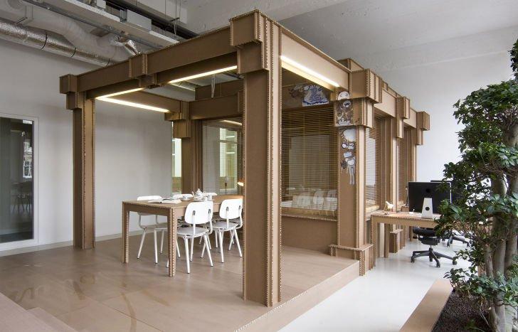 Oficina en Amsterdam hecha completamente de cartón1