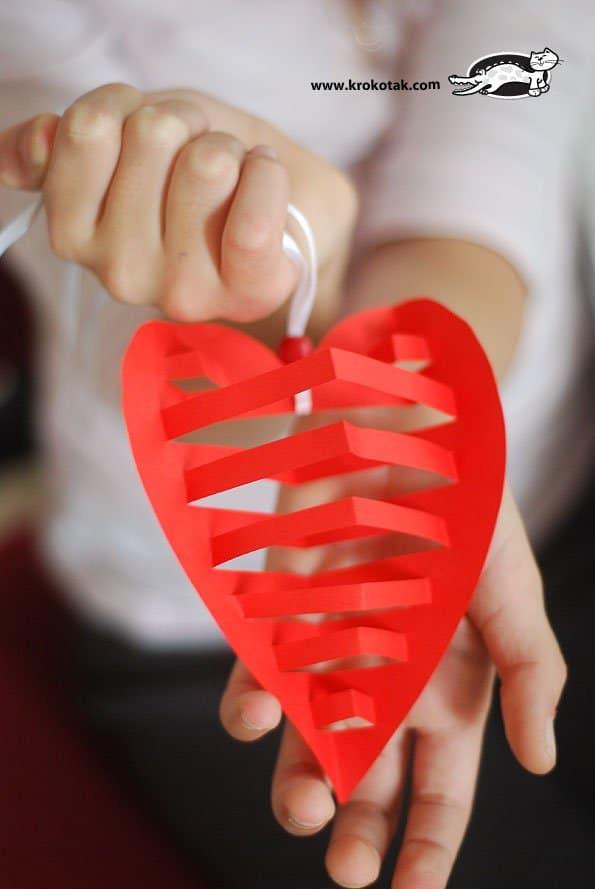 corazon 3d en papel