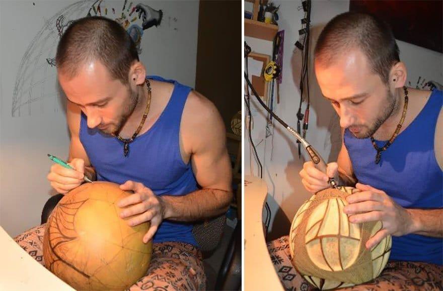 Lámpara con calabaza africana tallada