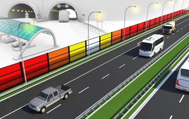 Barreras acústicas para carreteras que producen energía solar