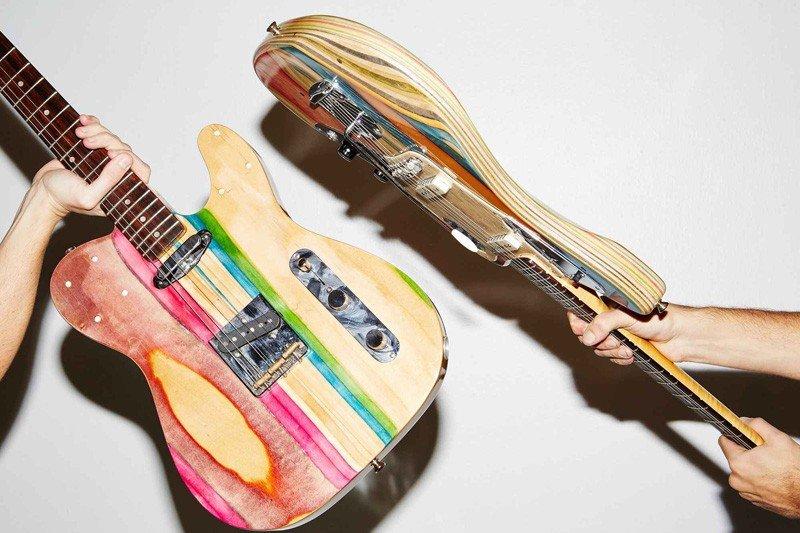Guitarras hechas con tablas de patinar recicladas 1