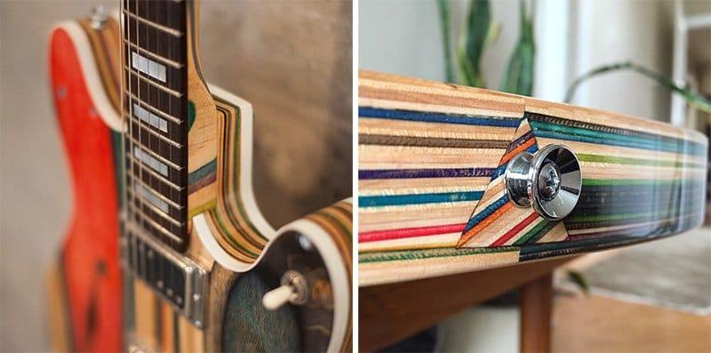Guitarras hechas con tablas de patinar recicladas2