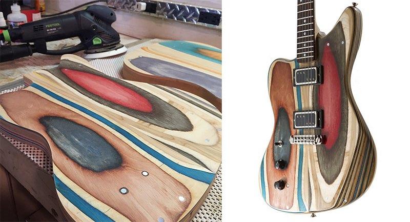 Guitarras hechas con tablas de patinar recicladas5
