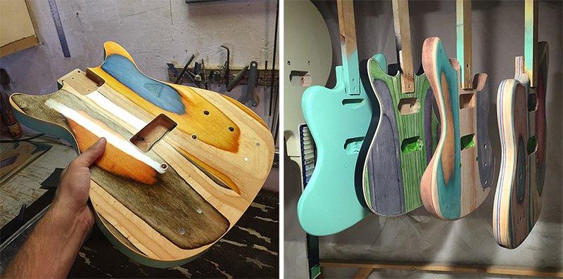 Guitarras hechas con tablas de patinar recicladas6