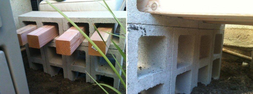 Cómo hacer un banco con listones de madera y bloques de hormigón2