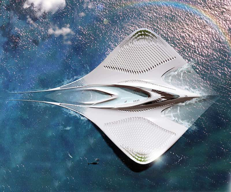 Fascinante ciudad flotante con forma de manta raya 100% autosuficiente