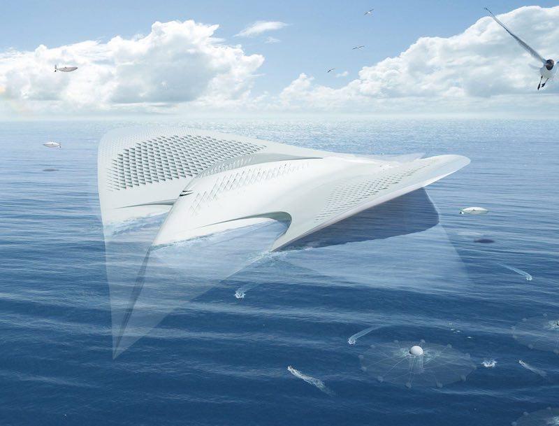Ciudad flotante con forma de manta raya 2