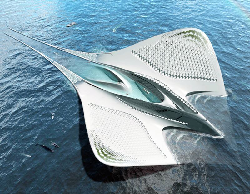 Ciudad flotante con forma de manta raya