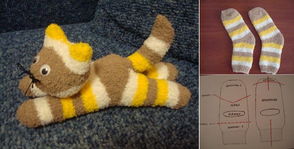 Como hacer un lindo gatito con un calcetín