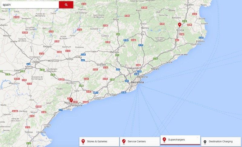 Mapa de supercargadores Tesla en España