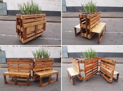 Bancos plegables hechos con palets reciclados1