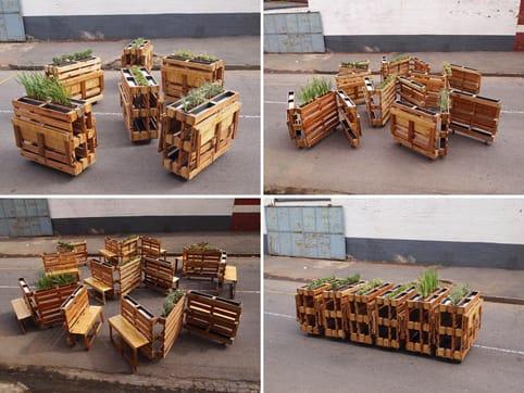 Bancos plegables hechos con palets reciclados3