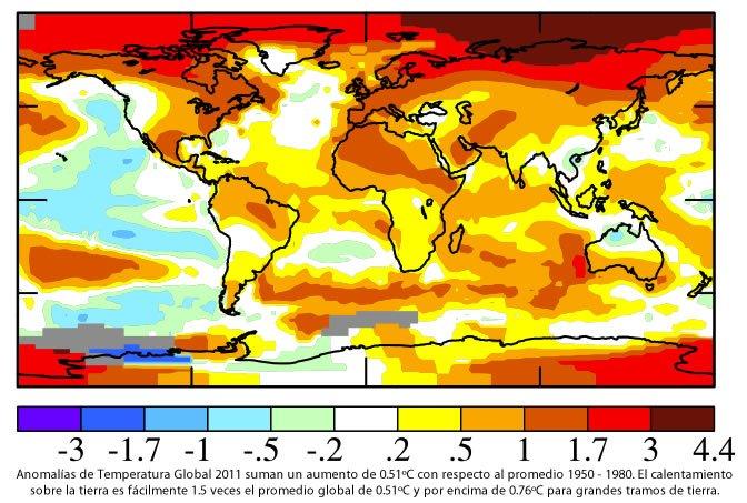 Cambios de temperatura en el 2011 comparado con promedios 1950-1980
