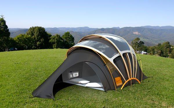 La tienda de campaña plegable con energía solar incorporada