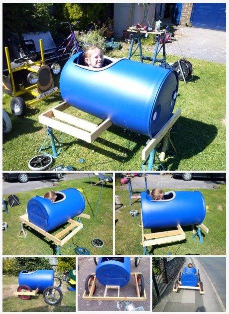 Cómo hacer un coche de carreras con un barril de plástico6