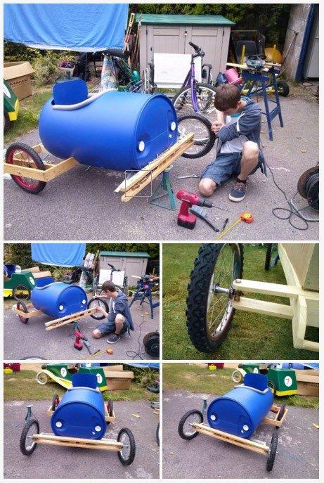 Cómo hacer un coche de carreras con un barril de plástico7