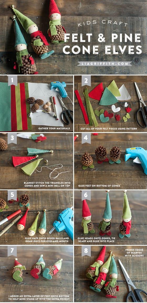 Como hacer elfos navideños con piñas y fieltro