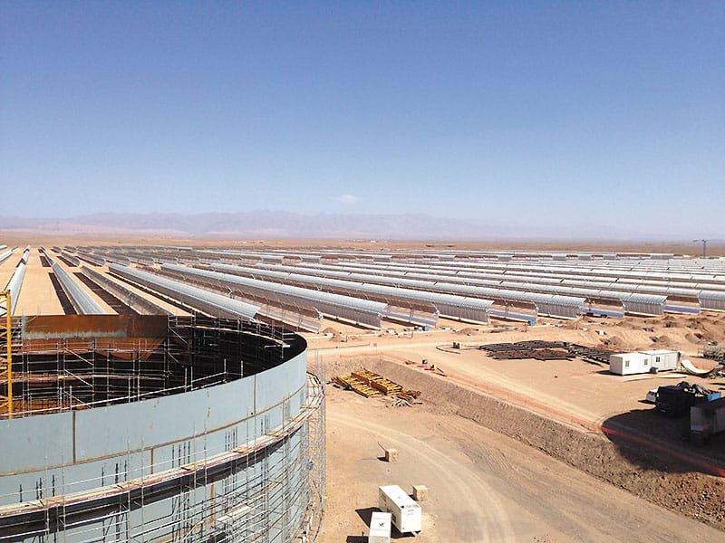 La mayor planta mundial de energía termosolar de concentración se construye en Marruecos