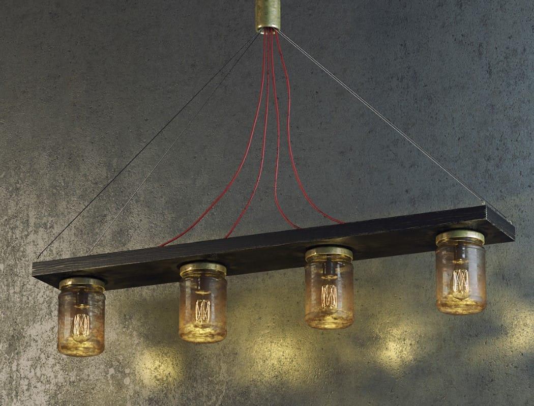 Preciosa-lampara-con-frascos-de-vidrio