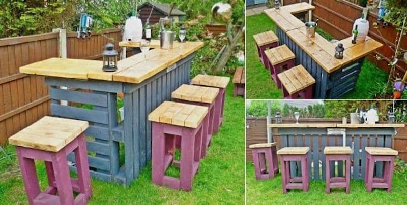 Como hacer una barra de bar en tu jardín con palets