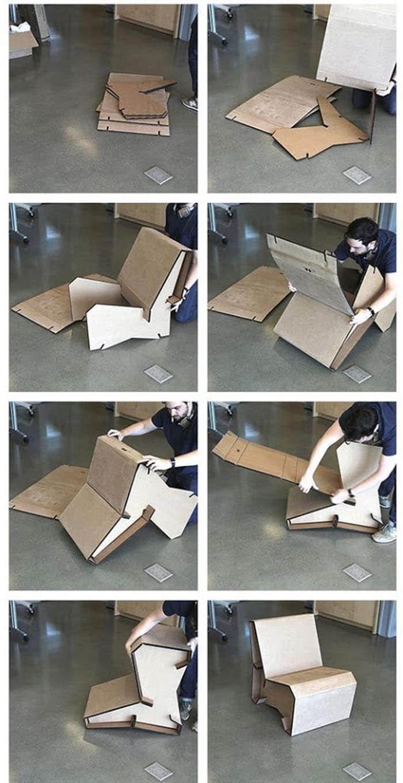 Silla en 5 piezas cartón montaje