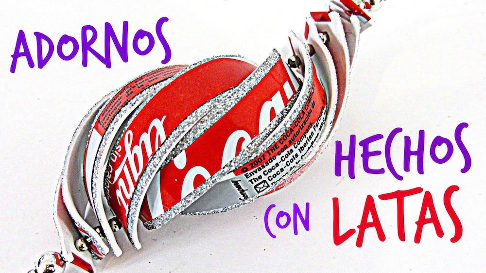 C mo hacer adornos navide os con latas de refrescos - Hacer adornos navidenos ...