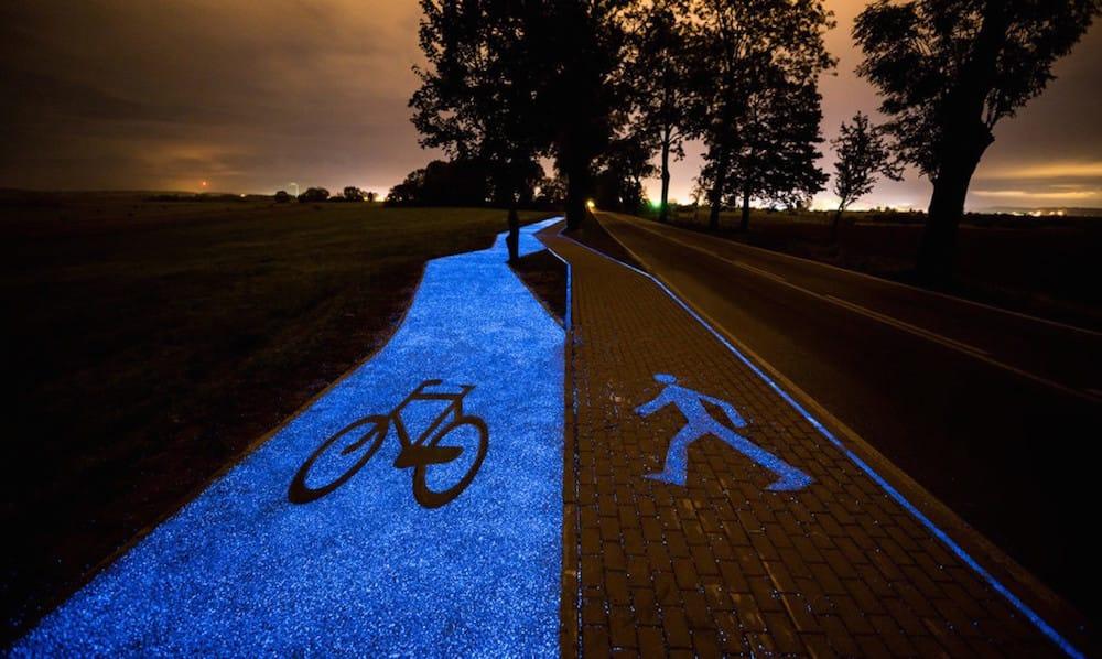 Carril-bici-polonia-luminiscente