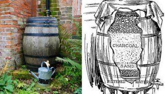 Un sistema casero de hace 100 años para recoger y filtrar agua de lluvia en un barril
