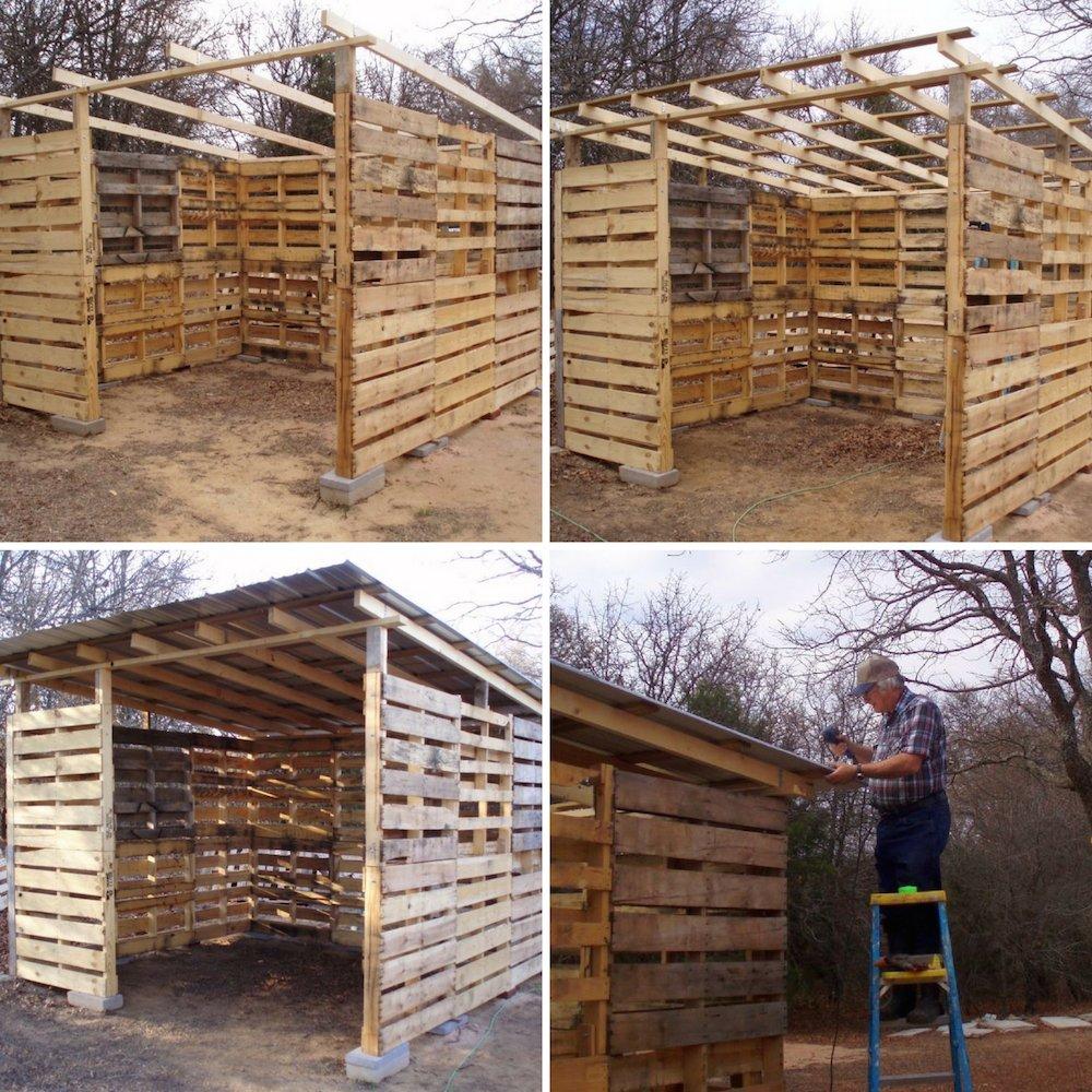 C mo hacer un cobertizo de madera con palets reutilizados for Cobertizo de jardin moderno de techo plano