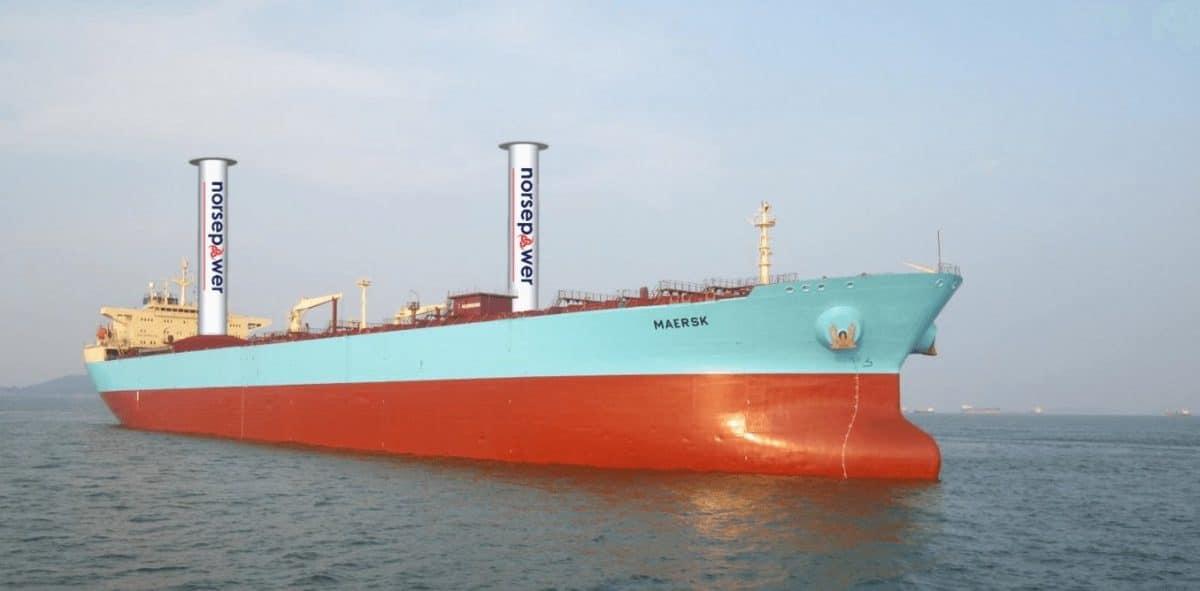 Maerks probará velas de rotor en sus barcos para reducir el consumo de combustibles fósiles